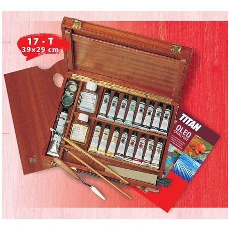 Maletín madera con óleos Titan.
