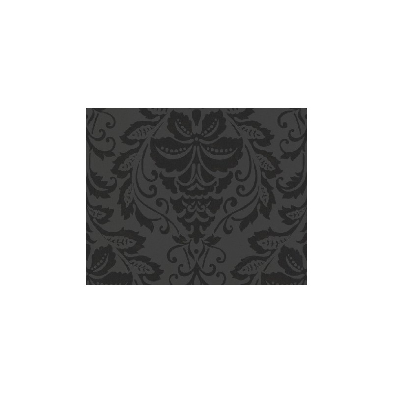 Papel pintado flock 3 dise o barroco en negro sobre fondo - Papel pintado diseno ...
