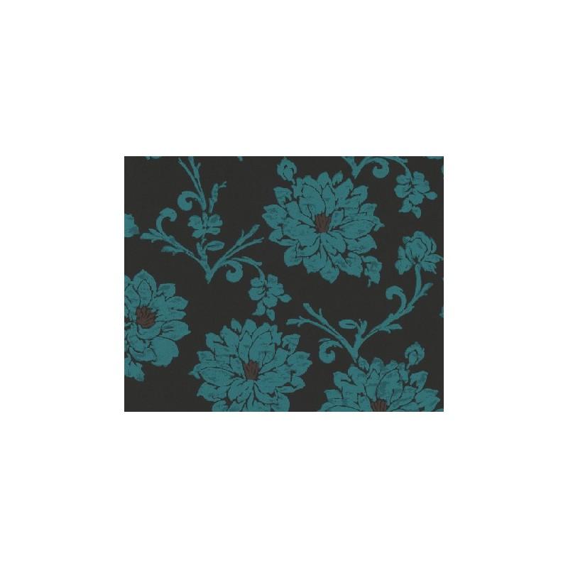 Papel pintado flock 3 dise o flores adamascadas en azul for Papel pintado diseno
