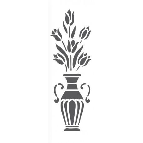 Plantillas estarcido jarrón con flores FXL 423