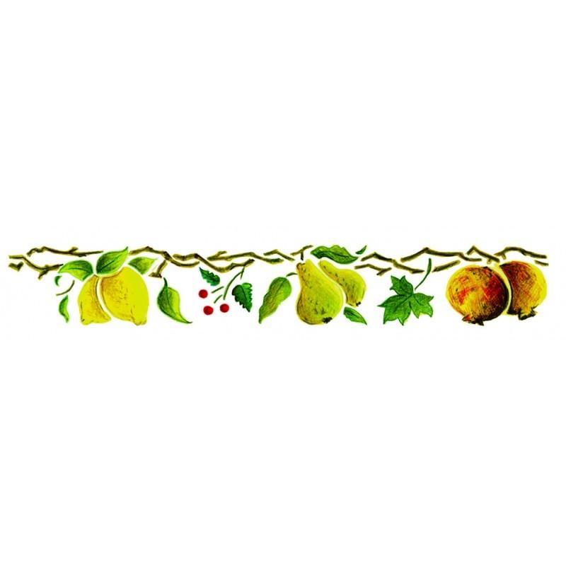 Plantilla estarcir cenefa con ramas de frutas y hojas med - Plantillas cenefas para pintar ...