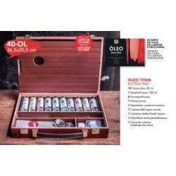 Maletín madera con 10 óleos 40-OL Titan.