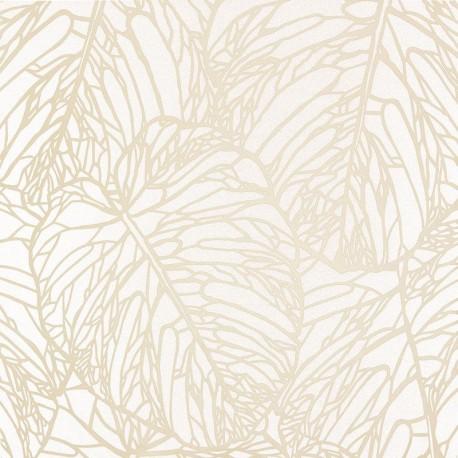 Papel pintado grandes hojas en blanco mate y blanco - Papel de pared para pintar ...