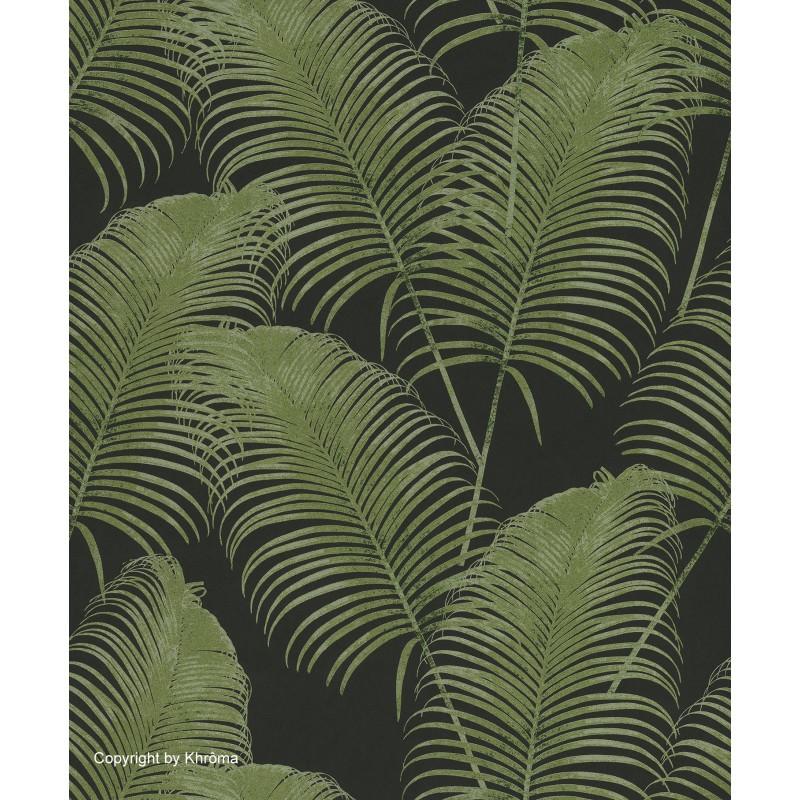 Papel pintado con dise os vegetales en tono verde for Papel pintado tonos verdes