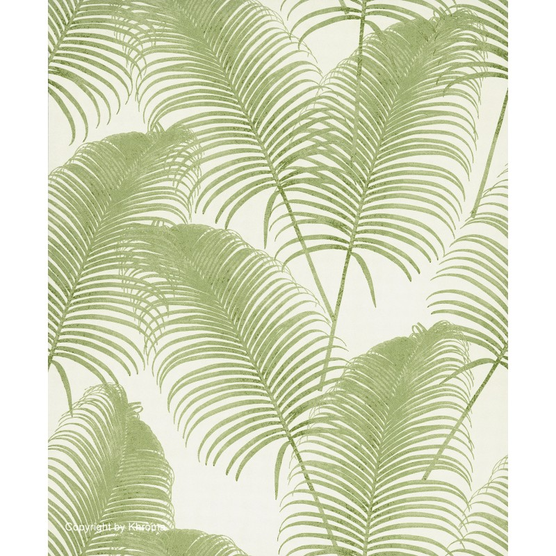 Papel pintado con dise os vegetales en tono verde y blanco for Papel pintado hojas
