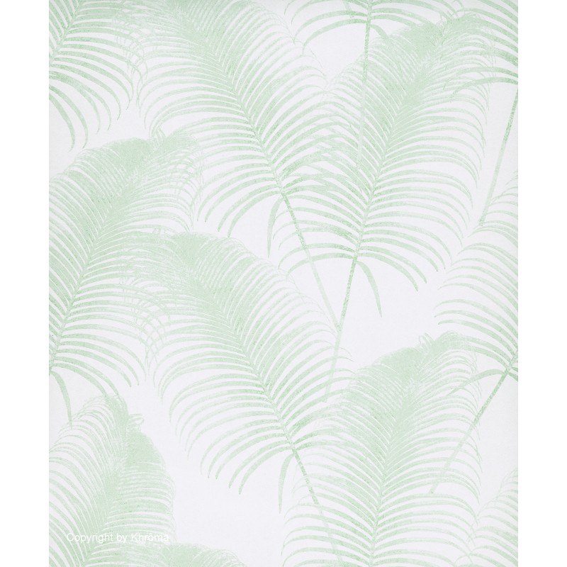 Papel pintado dise os vegetales en tonos verde menta y for Papel pintado hojas
