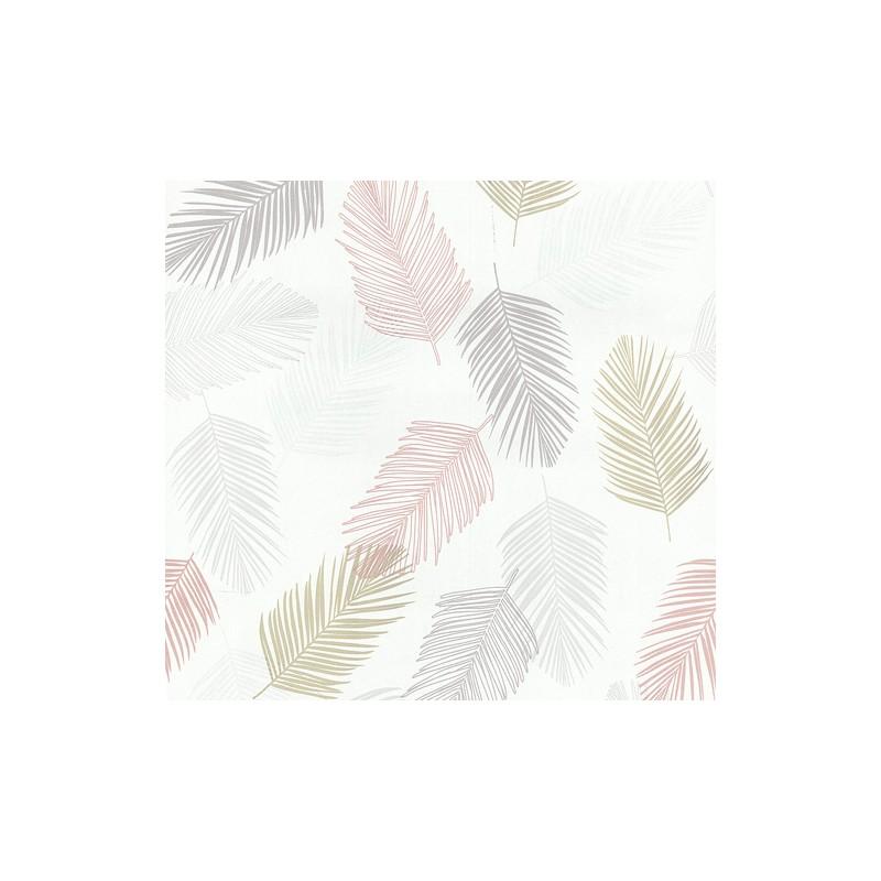 Papel pintado con hojas ex tico en gris rosa beige for Papel pintado hojas