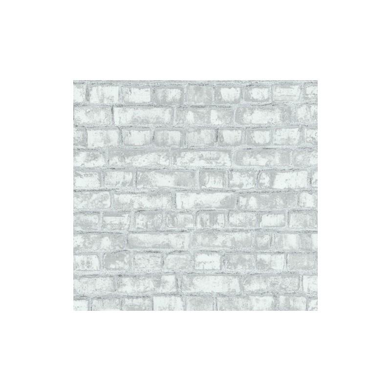 Papel pintado ladrillos gris y blanco textura rugosa tropical modern - Papel pintado ladrillo blanco ...