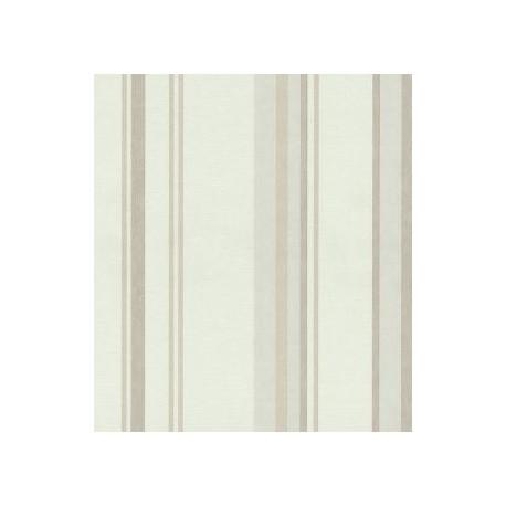 Papel pintado rayas varios anchos en beige, blanco y plata Style House