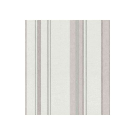 Papel pintado rayas varios anchos en beige, rosa y plata Style House