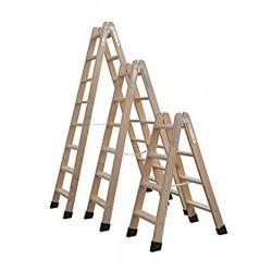 Escalera de madera peldaños planos.