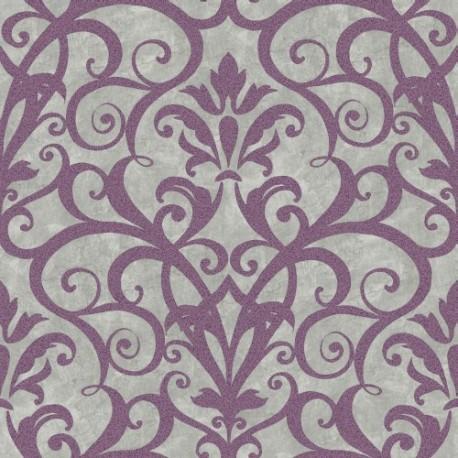 Papel pintado heritage kemen dise o filigranas y flores - Papel pintado morado ...