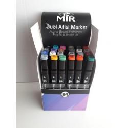 Rotuladores permanentes de colores Mir Set 24 colores